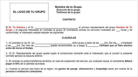 Contrato para Grupos Musicales